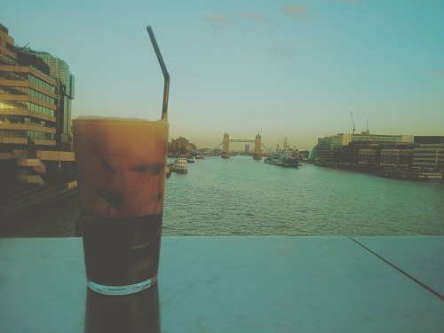 The Frappe Coffee Frother on the London bridge